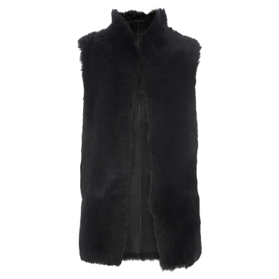 Sheepskin Reversible Gilet, Black - pattern: plain; sleeve style: sleeveless; style: gilet; collar: funnel; predominant colour: black; occasions: casual, creative work; length: standard; fit: straight cut (boxy); fibres: leather - 100%; sleeve length: sleeveless; collar break: high; pattern type: fabric; texture group: sheepskin; season: s/s 2016