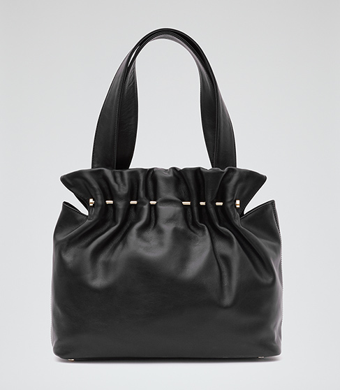 Lark Leather And Metal Tote - predominant colour: black; occasions: casual, creative work; type of pattern: standard; style: tote; length: handle; size: standard; material: leather; pattern: plain; finish: plain; season: s/s 2016; wardrobe: investment