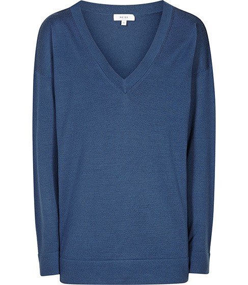 Leila V Neck Jumper - neckline: v-neck; pattern: plain; style: standard; predominant colour: denim; occasions: casual; length: standard; fibres: wool - mix; fit: standard fit; sleeve length: long sleeve; sleeve style: standard; texture group: knits/crochet; pattern type: knitted - fine stitch; season: s/s 2016; wardrobe: highlight