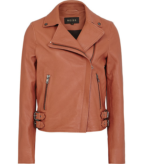 Sadie Textured Leather Biker Jacket - pattern: plain; style: biker; collar: asymmetric biker; predominant colour: tan; occasions: casual, creative work; length: standard; fit: tailored/fitted; fibres: leather - 100%; sleeve length: long sleeve; sleeve style: standard; texture group: leather; collar break: high/illusion of break when open; pattern type: fabric; season: s/s 2016; wardrobe: highlight