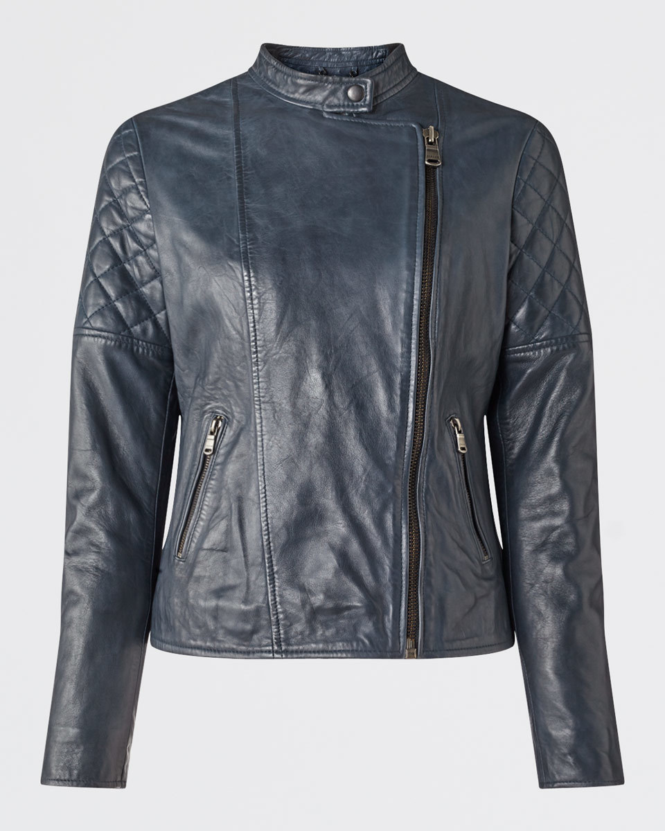 Quilted Washed Biker Jacket - pattern: plain; style: biker; collar: asymmetric biker; fit: slim fit; predominant colour: navy; occasions: casual; length: standard; fibres: leather - 100%; sleeve length: long sleeve; sleeve style: standard; texture group: leather; collar break: high/illusion of break when open; pattern type: fabric; embellishment: quilted; season: s/s 2016; wardrobe: basic