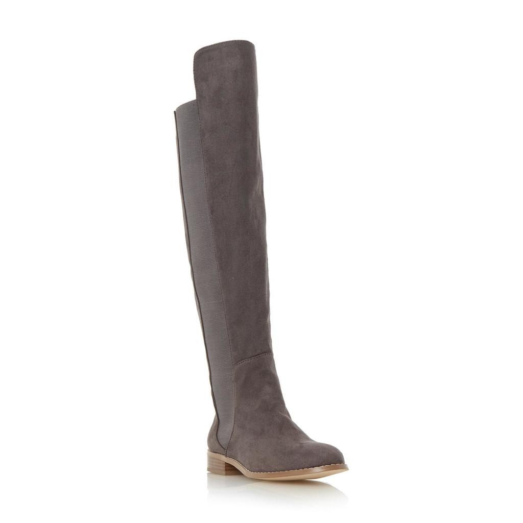Toulus Elasticated Panel Over The Knee Boot - predominant colour: mid grey; occasions: casual, creative work; material: faux shearling; heel height: flat; heel: block; toe: round toe; boot length: over the knee; style: standard; finish: plain; pattern: plain; season: s/s 2016