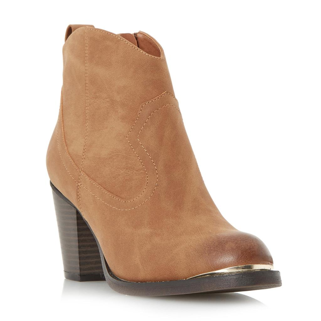 Paityn Metal Detail Western Ankle Boot - predominant colour: camel; occasions: casual, creative work; material: faux leather; heel height: high; heel: cone; toe: round toe; boot length: ankle boot; style: cowboy; finish: plain; pattern: plain; season: s/s 2016; wardrobe: highlight