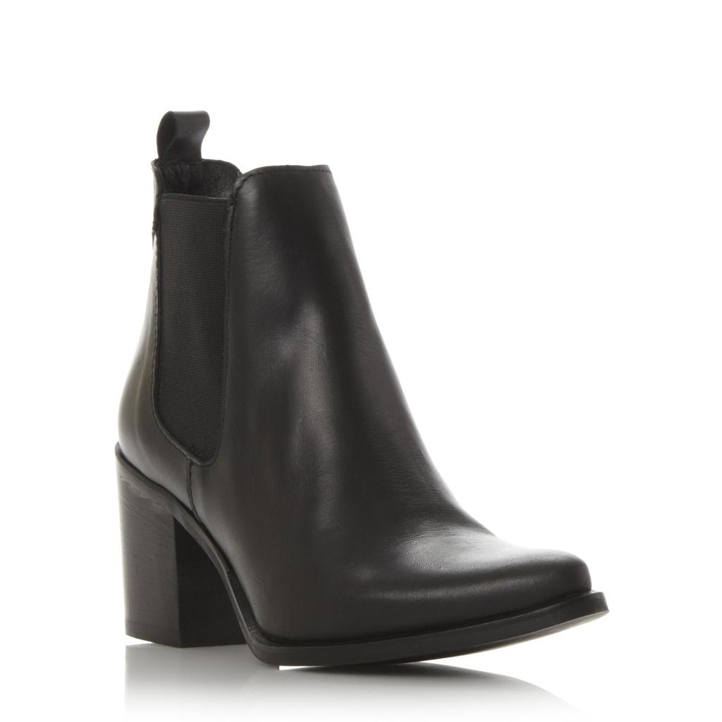 Piero Sm Pointed Toe Heeled Chelsea Boot - predominant colour: black; occasions: casual, creative work; material: leather; heel height: mid; heel: block; toe: pointed toe; boot length: ankle boot; finish: plain; pattern: plain; style: chelsea; season: s/s 2016; wardrobe: basic