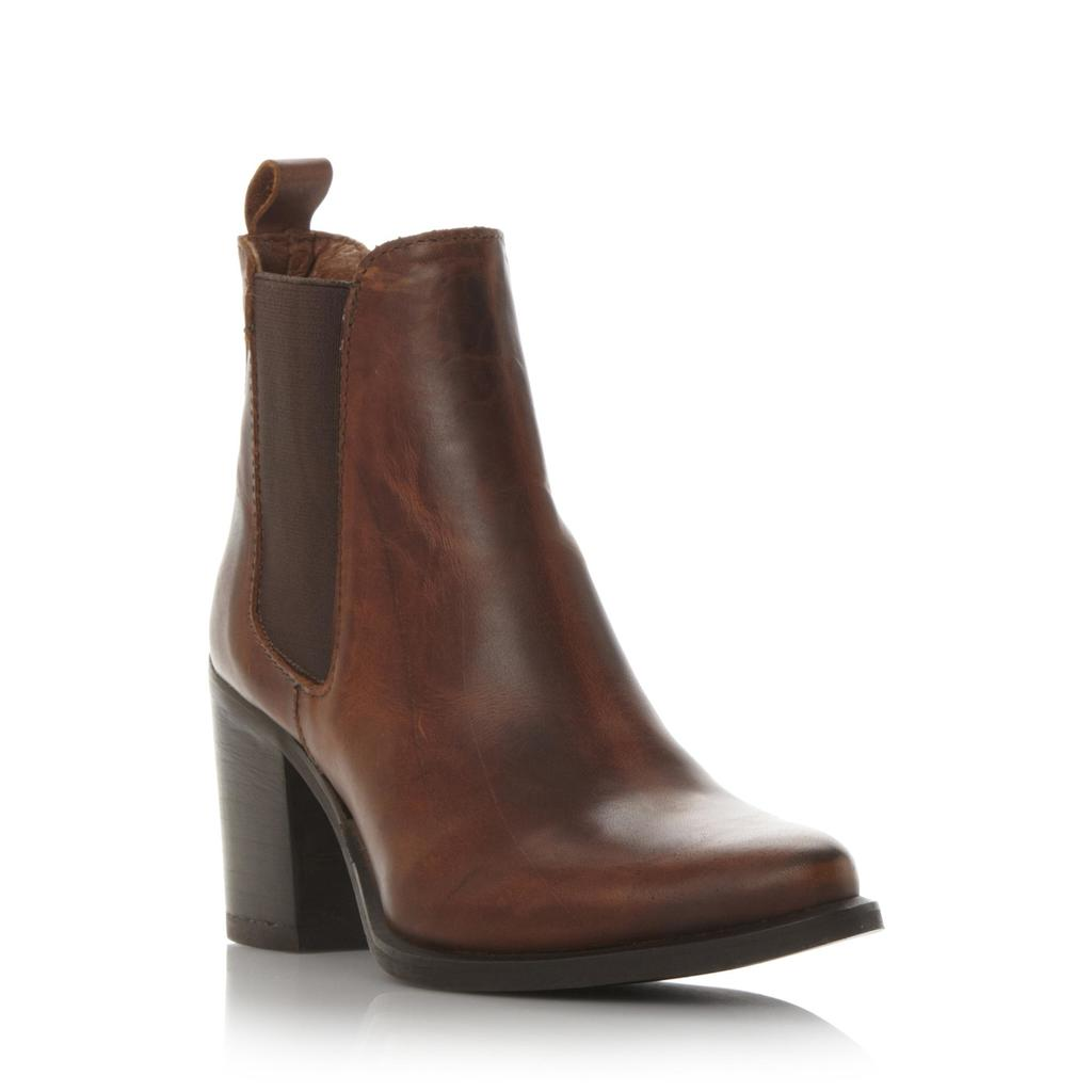 Piero Sm Pointed Toe Heeled Chelsea Boot - predominant colour: tan; occasions: casual, creative work; material: leather; heel height: high; heel: block; toe: round toe; boot length: ankle boot; finish: plain; pattern: plain; style: chelsea; season: s/s 2016; wardrobe: highlight