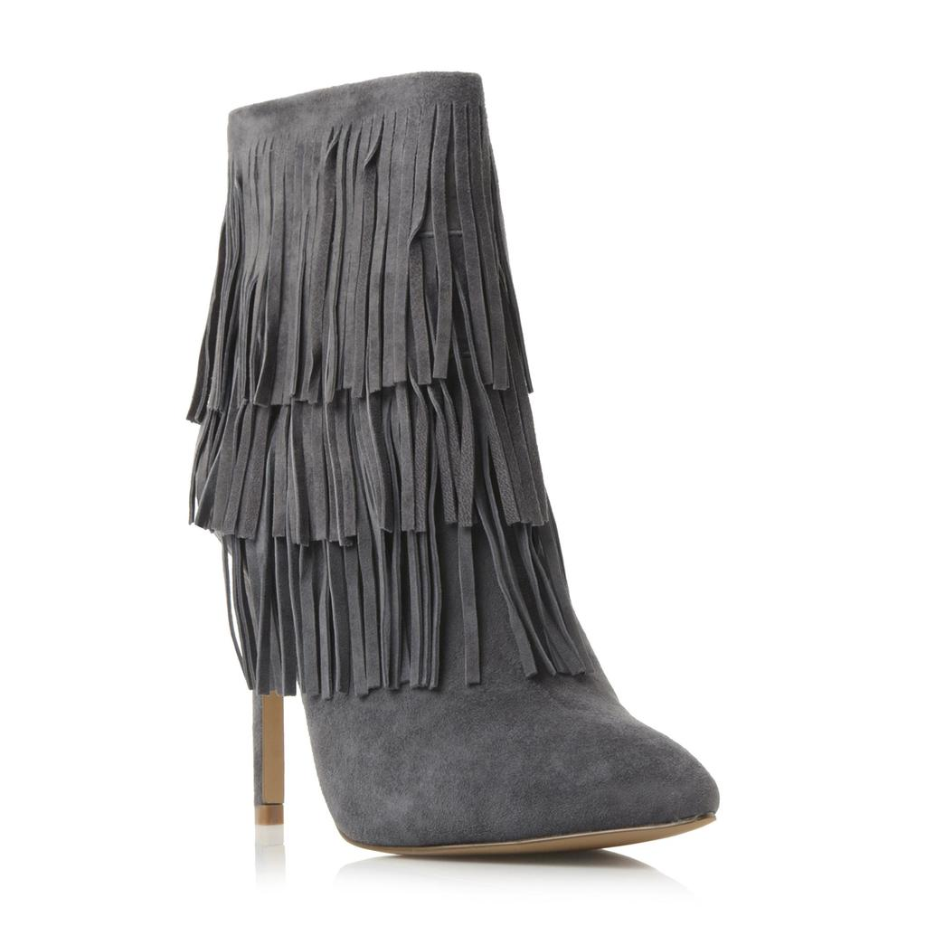 Flapper Sm Fringe Ankle Boot - predominant colour: mid grey; material: suede; heel height: high; heel: stiletto; toe: pointed toe; boot length: ankle boot; style: standard; finish: plain; pattern: plain; embellishment: fringing; occasions: creative work; season: s/s 2016; wardrobe: highlight