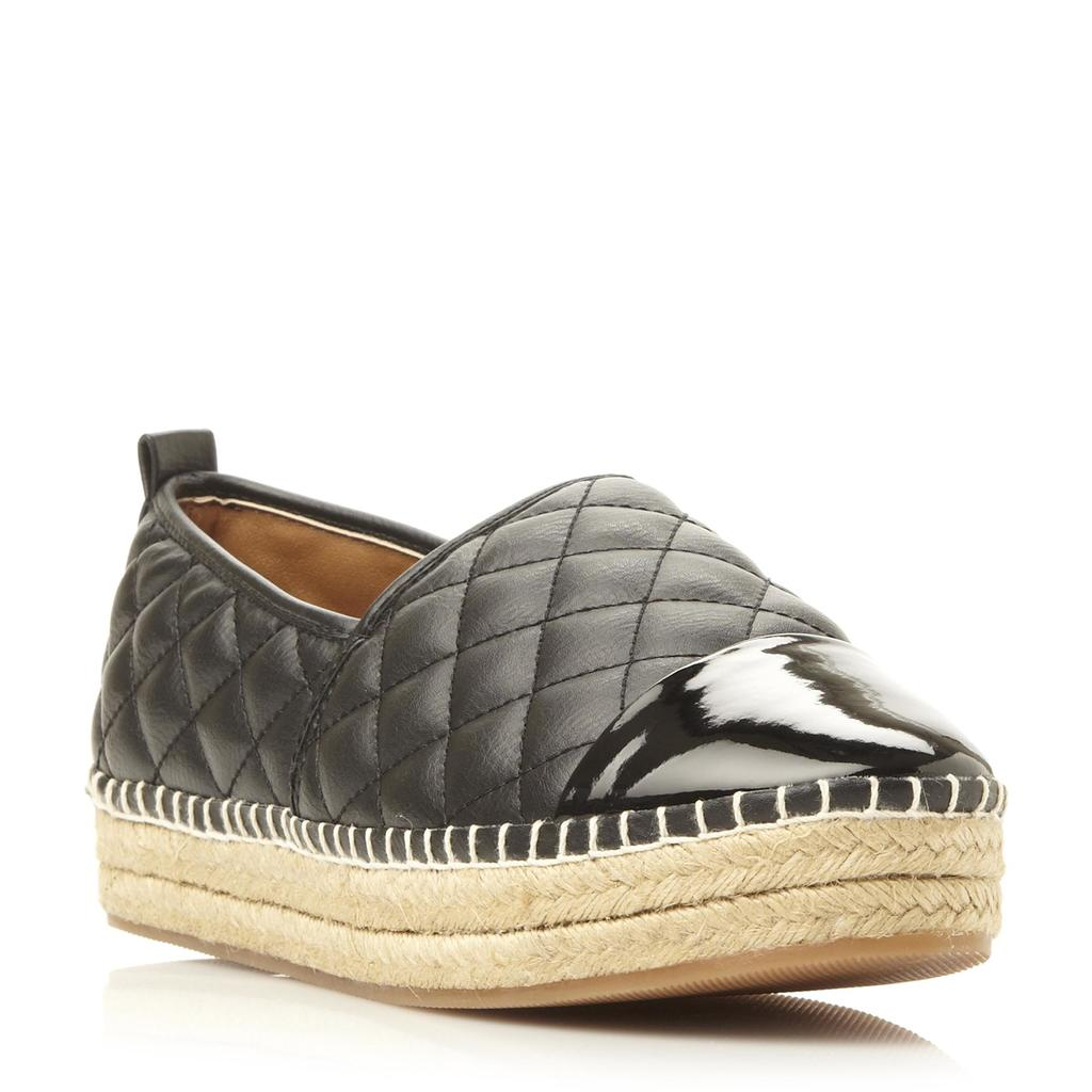 Palamo Sm Quilted Leather Espadrille Shoe - predominant colour: black; occasions: casual; material: leather; heel height: flat; embellishment: quilted; toe: round toe; finish: metallic; pattern: plain; style: espadrilles; shoe detail: platform; season: s/s 2016; wardrobe: highlight