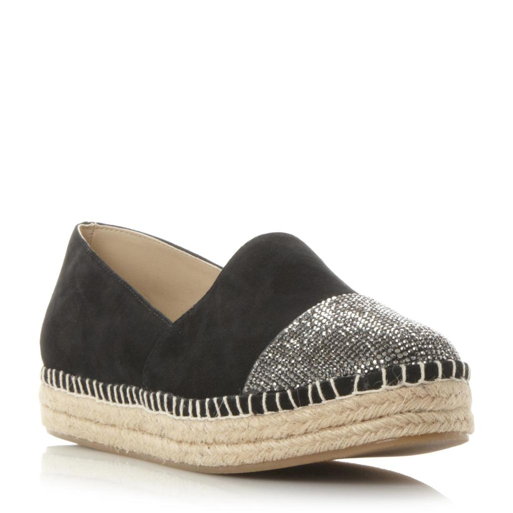 Pulsee Sm Rhinestone Toecap Detail Espadrille Shoe - secondary colour: silver; predominant colour: black; occasions: casual, creative work; material: suede; heel height: flat; toe: round toe; finish: plain; pattern: plain; style: espadrilles; season: s/s 2016; wardrobe: highlight