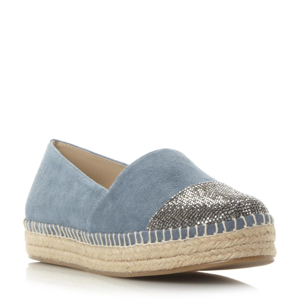 Pulsee Sm Rhinestone Toecap Detail Espadrille Shoe - predominant colour: pale blue; occasions: casual; material: suede; heel height: flat; toe: round toe; finish: plain; pattern: plain; style: espadrilles; shoe detail: platform; season: s/s 2016; wardrobe: highlight