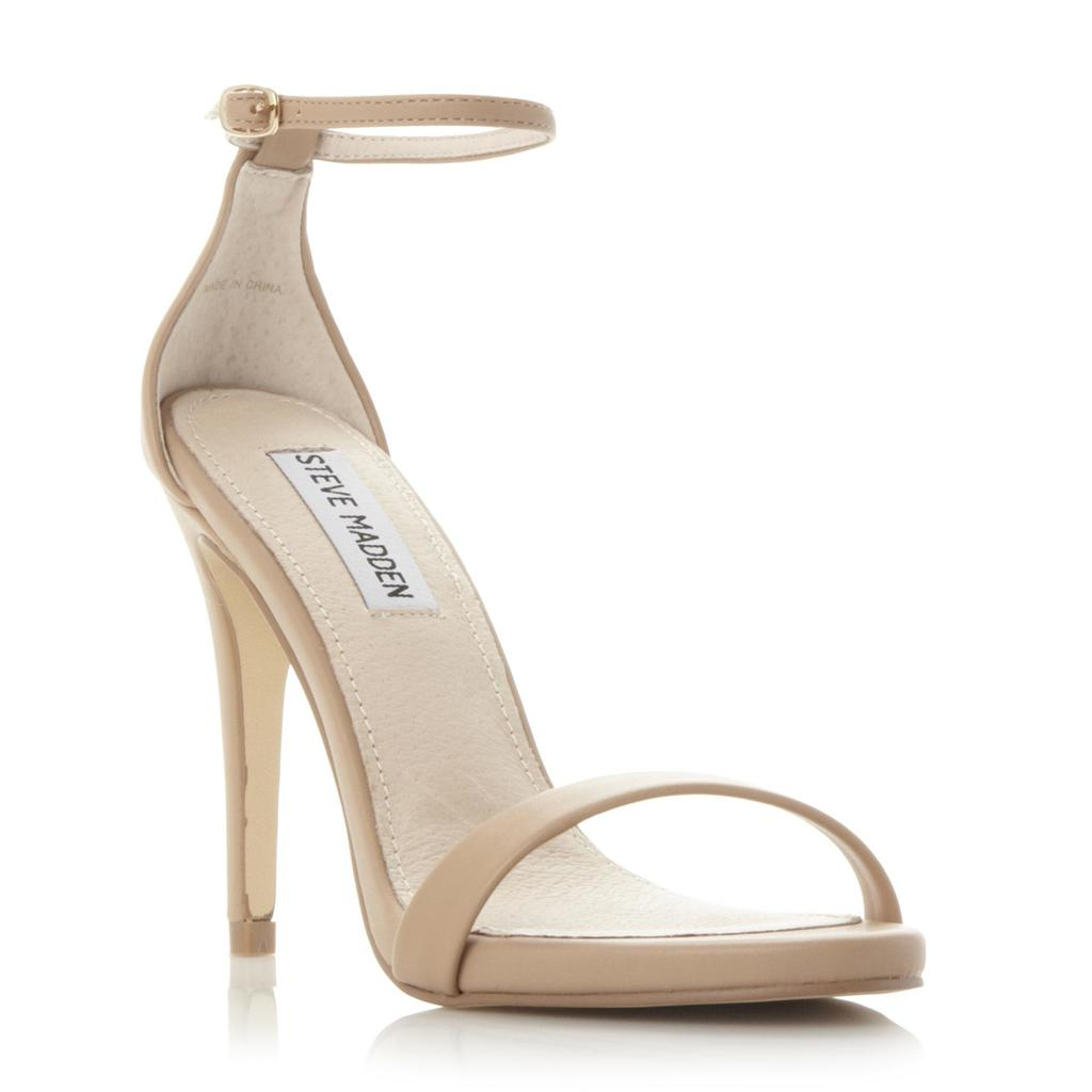 Stecy Sm Two Part Ankle Strap Heel Sandal - predominant colour: stone; occasions: evening, occasion; material: faux leather; ankle detail: ankle strap; heel: standard; toe: open toe/peeptoe; style: strappy; finish: patent; pattern: plain; heel height: very high; season: s/s 2016; wardrobe: event