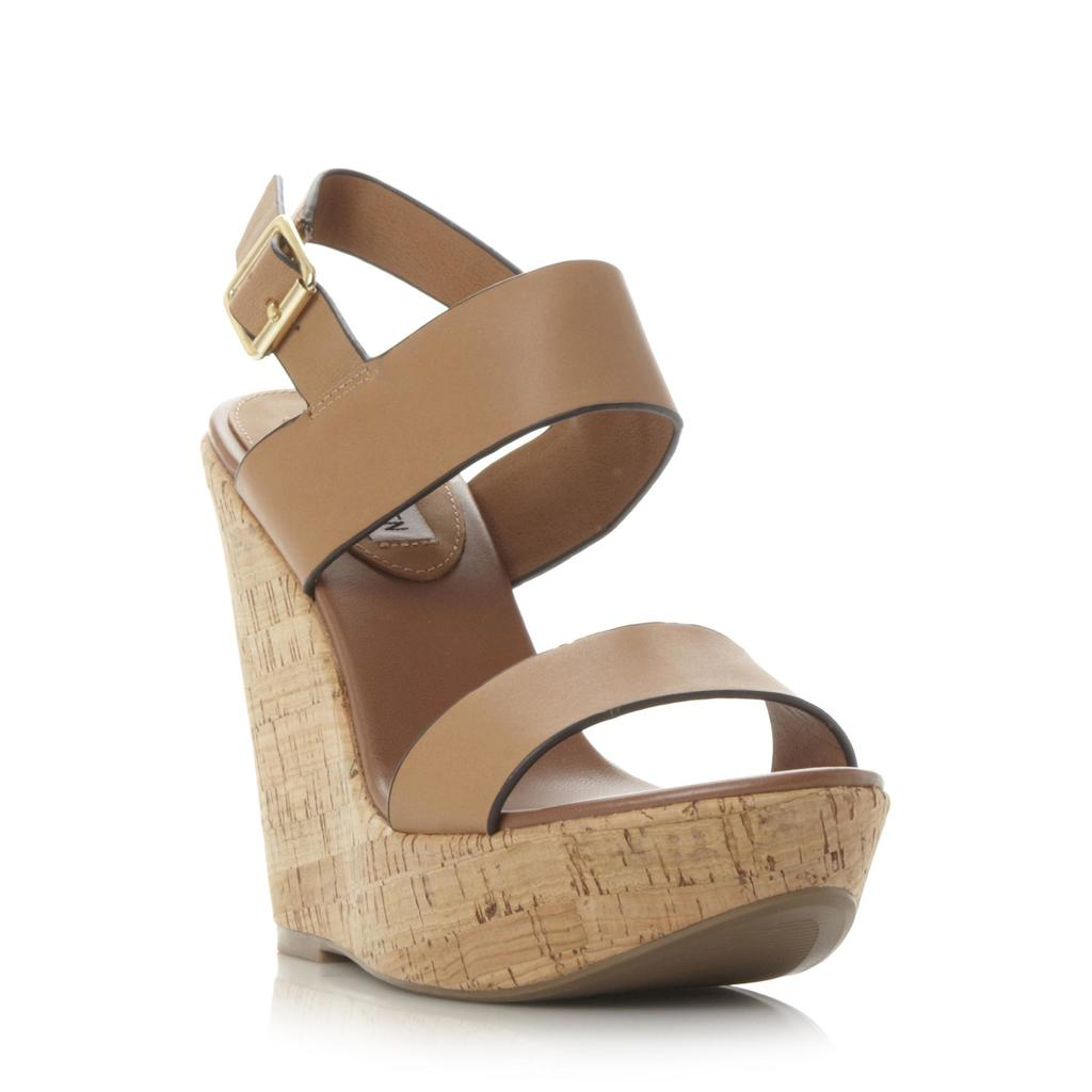 Esme Sm Two Part Cork Wedge Sandal - predominant colour: camel; occasions: casual, creative work; material: leather; embellishment: buckles; ankle detail: ankle strap; heel: wedge; toe: open toe/peeptoe; style: strappy; finish: plain; pattern: plain; heel height: very high; shoe detail: platform; season: s/s 2016