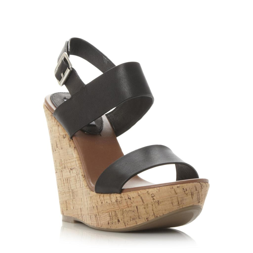 Esme Sm Two Part Cork Wedge Sandal - predominant colour: black; occasions: casual, creative work; material: leather; ankle detail: ankle strap; heel: wedge; toe: open toe/peeptoe; style: strappy; finish: plain; pattern: plain; heel height: very high; shoe detail: platform; season: s/s 2016; wardrobe: investment