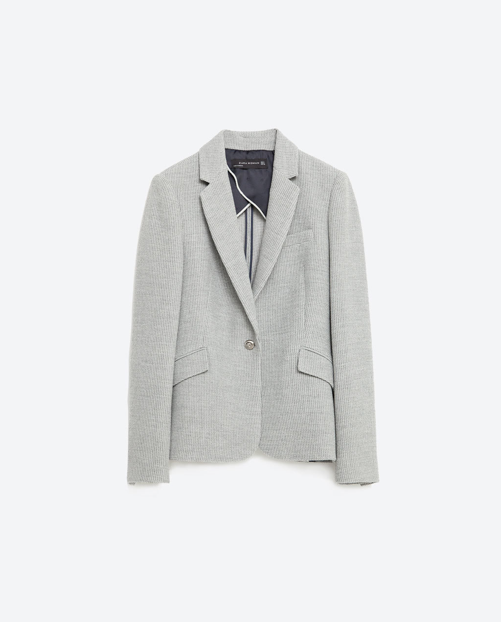 Jacket With Button - pattern: plain; style: single breasted blazer; collar: standard lapel/rever collar; predominant colour: light grey; length: standard; fit: tailored/fitted; fibres: polyester/polyamide - mix; hip detail: subtle/flattering hip detail; sleeve length: long sleeve; sleeve style: standard; collar break: low/open; pattern type: fabric; texture group: other - light to midweight; occasions: creative work; season: s/s 2016; wardrobe: investment