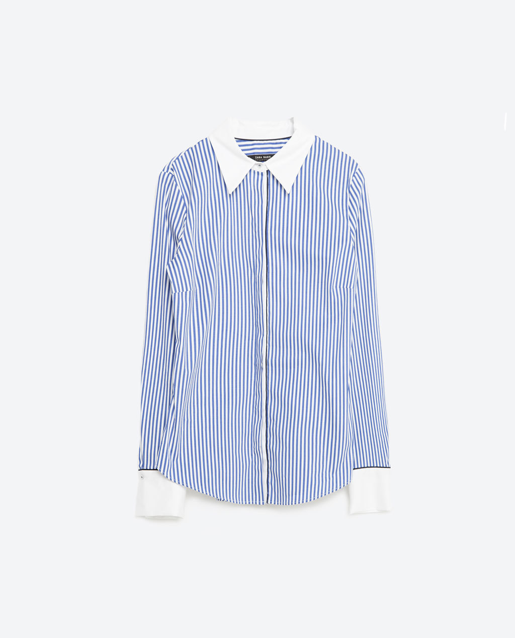 Striped Shirt - neckline: shirt collar/peter pan/zip with opening; pattern: vertical stripes; style: shirt; secondary colour: white; predominant colour: pale blue; occasions: casual, work, creative work; length: standard; fibres: cotton - mix; fit: body skimming; sleeve length: long sleeve; sleeve style: standard; pattern type: fabric; pattern size: standard; texture group: woven light midweight; season: s/s 2016; wardrobe: highlight