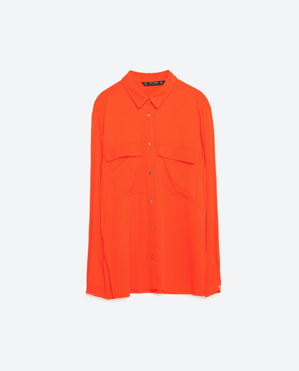 Shirt With Golden Buttons - neckline: shirt collar/peter pan/zip with opening; pattern: plain; style: shirt; bust detail: pocket detail at bust; predominant colour: bright orange; occasions: casual, creative work; length: standard; fibres: polyester/polyamide - 100%; fit: straight cut; sleeve length: long sleeve; sleeve style: standard; texture group: crepes; pattern type: fabric; season: s/s 2016; wardrobe: highlight