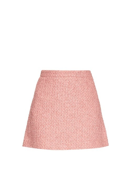 Tweed A Line Mini Skirt - length: mini; pattern: plain; fit: loose/voluminous; waist: high rise; predominant colour: pink; style: a-line; fibres: wool - mix; waist detail: feature waist detail; pattern type: fabric; texture group: tweed - light/midweight; occasions: creative work; season: s/s 2016; wardrobe: highlight