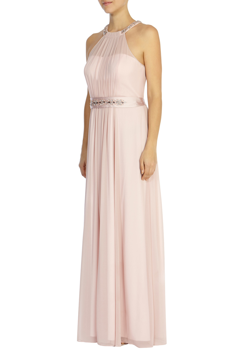 Juliette Maxi Dress - style: ballgown; pattern: plain; sleeve style: sleeveless; waist detail: belted waist/tie at waist/drawstring; predominant colour: blush; occasions: evening; length: floor length; fit: body skimming; fibres: polyester/polyamide - 100%; sleeve length: sleeveless; texture group: sheer fabrics/chiffon/organza etc.; pattern type: fabric; embellishment: crystals/glass; season: s/s 2016; neckline: high halter neck; wardrobe: event; embellishment location: neck, waist