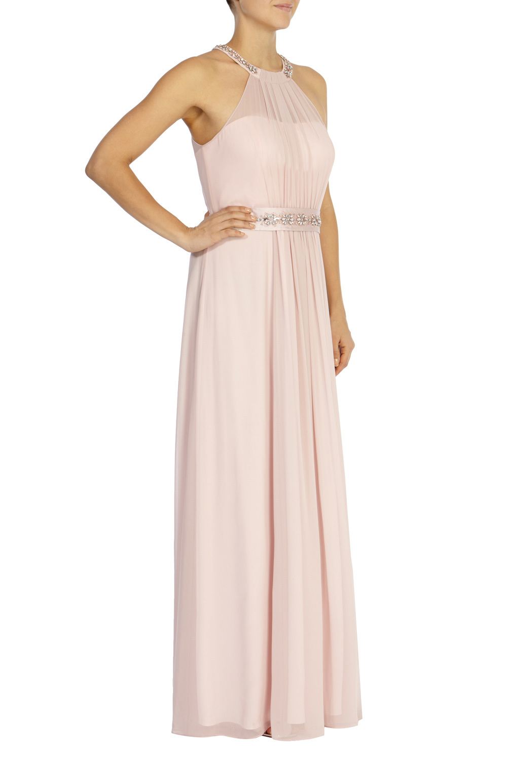 Juliette Maxi Dress Sl - style: ballgown; pattern: plain; sleeve style: sleeveless; predominant colour: blush; occasions: evening, occasion; length: floor length; fit: fitted at waist & bust; fibres: polyester/polyamide - 100%; sleeve length: sleeveless; texture group: sheer fabrics/chiffon/organza etc.; pattern type: fabric; embellishment: crystals/glass; season: s/s 2016; neckline: high halter neck; wardrobe: event; embellishment location: neck, waist