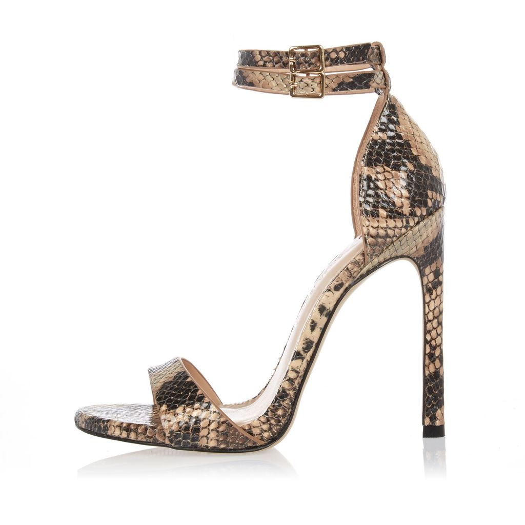 Womens Brown Snake Print Barely There Heeled Sandals - predominant colour: chocolate brown; secondary colour: taupe; occasions: evening, occasion; material: faux leather; heel height: high; ankle detail: ankle strap; heel: stiletto; toe: open toe/peeptoe; style: strappy; finish: plain; pattern: animal print; season: s/s 2016; wardrobe: event