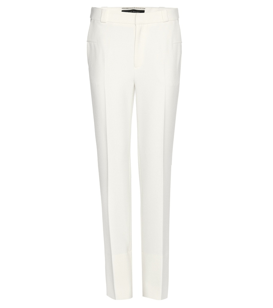 Lacerta Stretch Crêpe Trousers - length: standard; pattern: plain; waist: mid/regular rise; predominant colour: white; fibres: polyester/polyamide - stretch; occasions: occasion; hip detail: fitted at hip (bottoms); texture group: crepes; fit: straight leg; pattern type: fabric; style: standard; season: s/s 2016