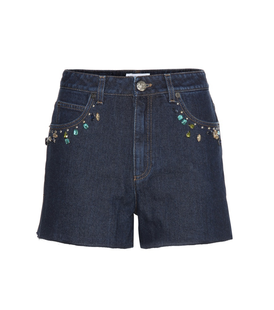 Embellished High Rise Denim Shorts - pattern: plain; waist: mid/regular rise; predominant colour: navy; secondary colour: denim; occasions: casual; fibres: cotton - stretch; texture group: denim; pattern type: fabric; embellishment: beading; season: s/s 2016; style: denim; length: short shorts; fit: slim leg; wardrobe: highlight; embellishment location: hip