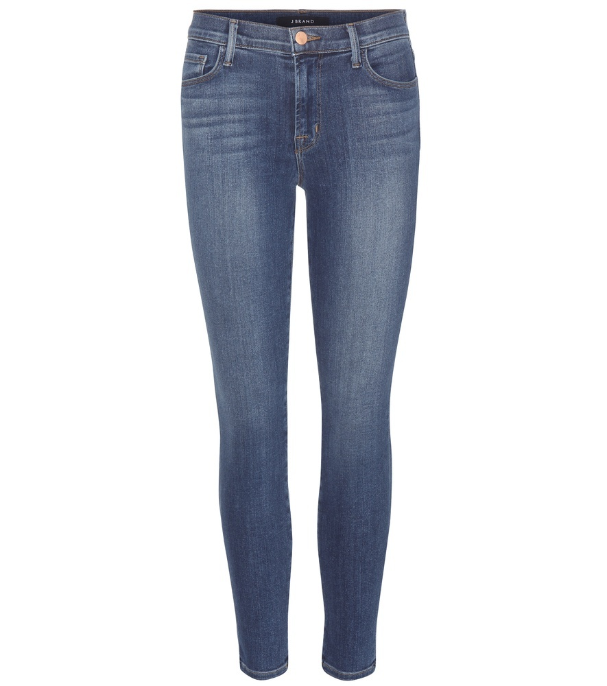Capri Mid Rise Cropped Jeans - style: skinny leg; pattern: plain; pocket detail: traditional 5 pocket; waist: mid/regular rise; predominant colour: denim; occasions: casual; length: ankle length; fibres: cotton - stretch; jeans detail: whiskering, shading down centre of thigh; texture group: denim; pattern type: fabric; season: s/s 2016; wardrobe: basic