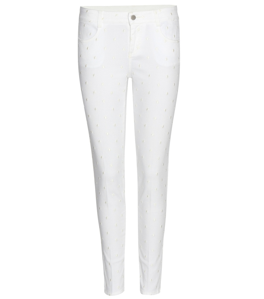 Embroidered Cropped Skinny Jeans - style: skinny leg; length: standard; pattern: plain; pocket detail: traditional 5 pocket; waist: mid/regular rise; predominant colour: white; occasions: casual; fibres: cotton - stretch; texture group: denim; pattern type: fabric; season: s/s 2016; wardrobe: highlight