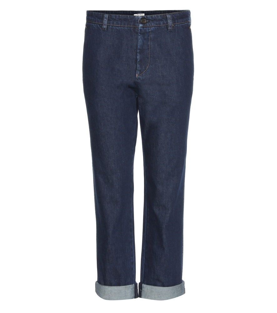 Cropped Jeans - style: straight leg; pattern: plain; waist: mid/regular rise; predominant colour: denim; occasions: casual; length: ankle length; fibres: cotton - stretch; jeans detail: dark wash; jeans & bottoms detail: turn ups; texture group: denim; pattern type: fabric; season: s/s 2016