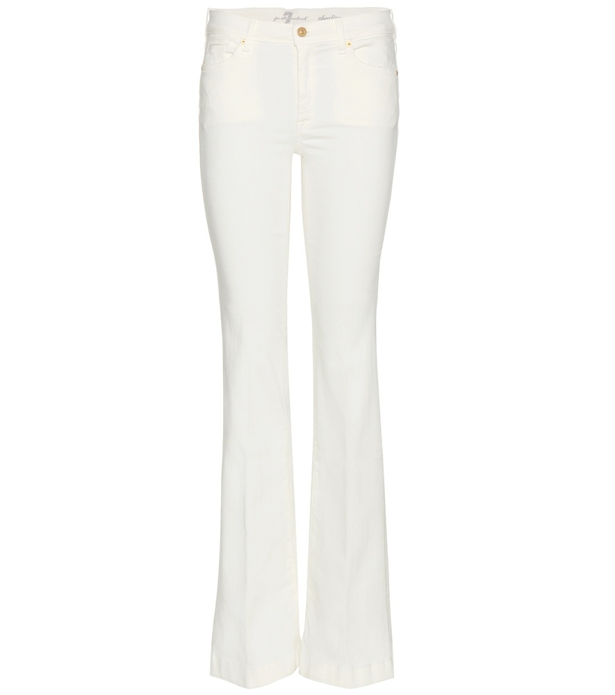 Charlize Flared Bootcut Jeans - style: bootcut; length: standard; pattern: plain; pocket detail: traditional 5 pocket; waist: mid/regular rise; predominant colour: ivory/cream; occasions: casual, creative work; fibres: cotton - stretch; texture group: denim; pattern type: fabric; season: s/s 2016; wardrobe: highlight