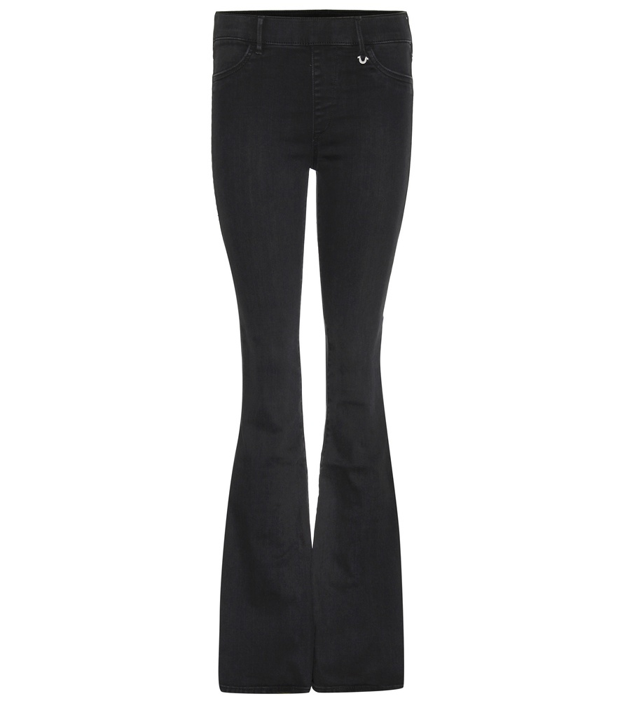 Runway Flare Mid Rise Jeans - style: flares; length: standard; pattern: plain; pocket detail: traditional 5 pocket; waist: mid/regular rise; predominant colour: black; occasions: casual; fibres: cotton - mix; texture group: denim; pattern type: fabric; season: s/s 2016