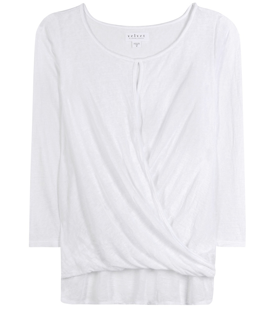 Carthy Draped Top - neckline: round neck; pattern: plain; predominant colour: white; occasions: casual, creative work; length: standard; style: top; fit: body skimming; sleeve length: 3/4 length; sleeve style: standard; texture group: cotton feel fabrics; pattern type: fabric; fibres: viscose/rayon - mix; season: s/s 2016; wardrobe: basic