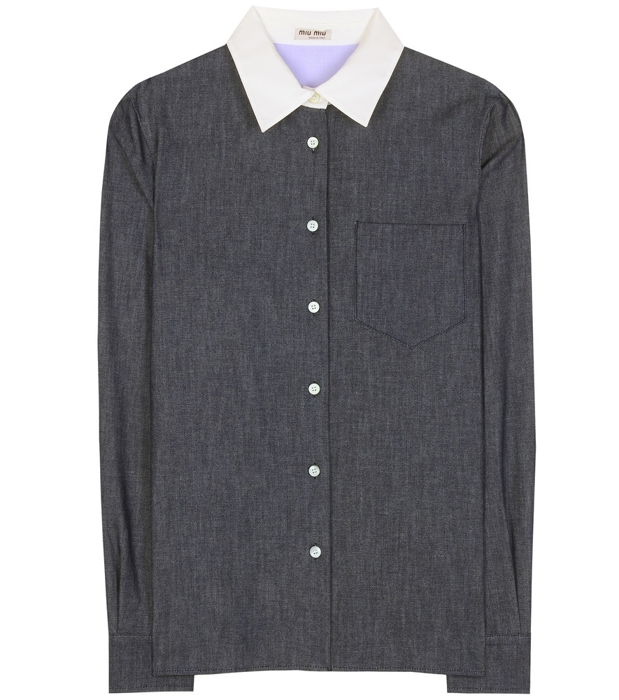 Cotton Shirt - neckline: shirt collar/peter pan/zip with opening; style: shirt; secondary colour: white; predominant colour: charcoal; occasions: casual, work, creative work; length: standard; fibres: cotton - 100%; fit: straight cut; sleeve length: long sleeve; sleeve style: standard; texture group: cotton feel fabrics; pattern type: fabric; pattern size: standard; pattern: colourblock; season: s/s 2016; wardrobe: highlight