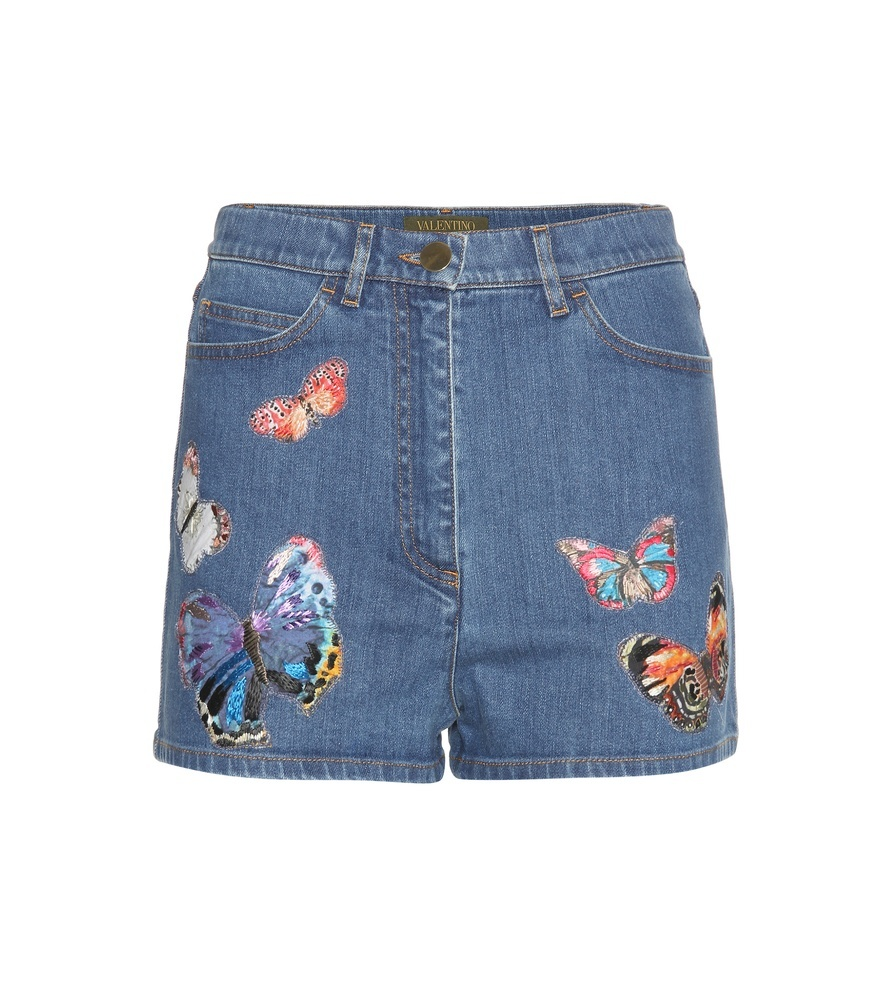 Denim Shorts With Appliqué - waist: high rise; pocket detail: traditional 5 pocket; predominant colour: denim; secondary colour: coral; occasions: casual, holiday; fibres: cotton - stretch; texture group: denim; pattern type: fabric; pattern: patterned/print; embellishment: embroidered; pattern size: standard (bottom); season: s/s 2016; style: denim; length: short shorts; fit: slim leg