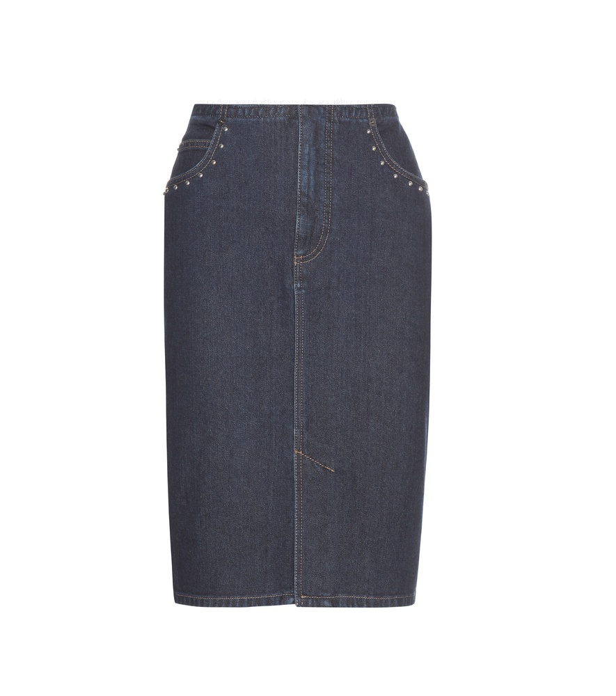 Embellished Denim Skirt - pattern: plain; style: pencil; fit: tailored/fitted; waist: high rise; predominant colour: navy; occasions: casual; length: on the knee; fibres: cotton - stretch; hip detail: added detail/embellishment at hip; texture group: denim; pattern type: fabric; season: s/s 2016; wardrobe: highlight