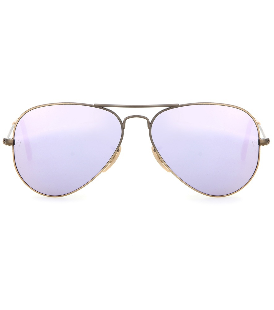 Rb3025 Mirrored Aviator Sunglasses - secondary colour: lilac; predominant colour: gold; occasions: casual, holiday; style: aviator; size: large; material: plastic/rubber; pattern: plain; finish: plain; season: s/s 2016; wardrobe: basic