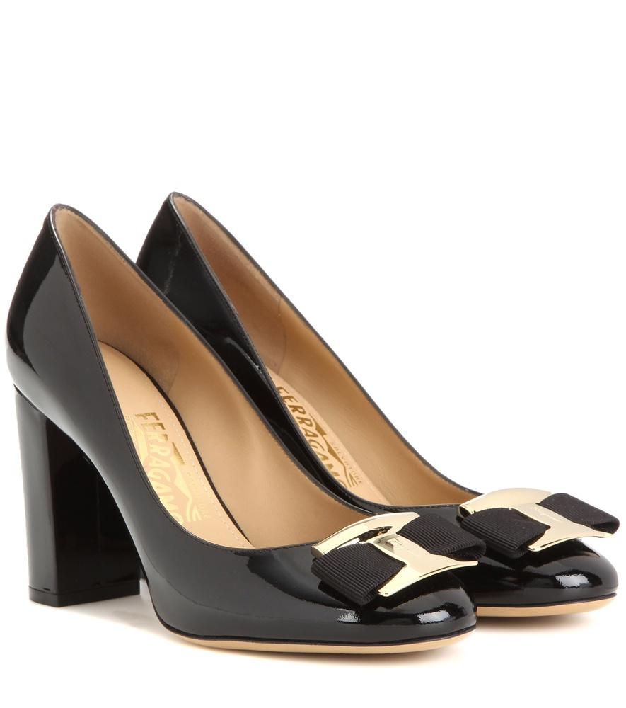 Ninna Patent Leather Pumps - predominant colour: black; occasions: work; material: leather; heel height: high; embellishment: buckles; heel: block; toe: round toe; style: courts; finish: patent; pattern: plain; season: s/s 2016; wardrobe: investment