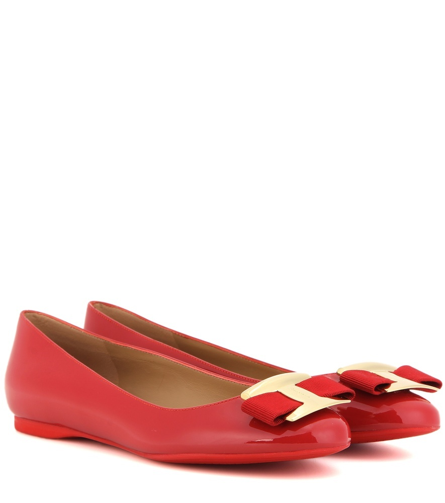 Ninna Patent Leather Ballerinas - predominant colour: true red; secondary colour: gold; occasions: casual, creative work; material: leather; heel height: flat; toe: round toe; style: ballerinas / pumps; finish: plain; pattern: plain; embellishment: bow; season: s/s 2016; wardrobe: highlight