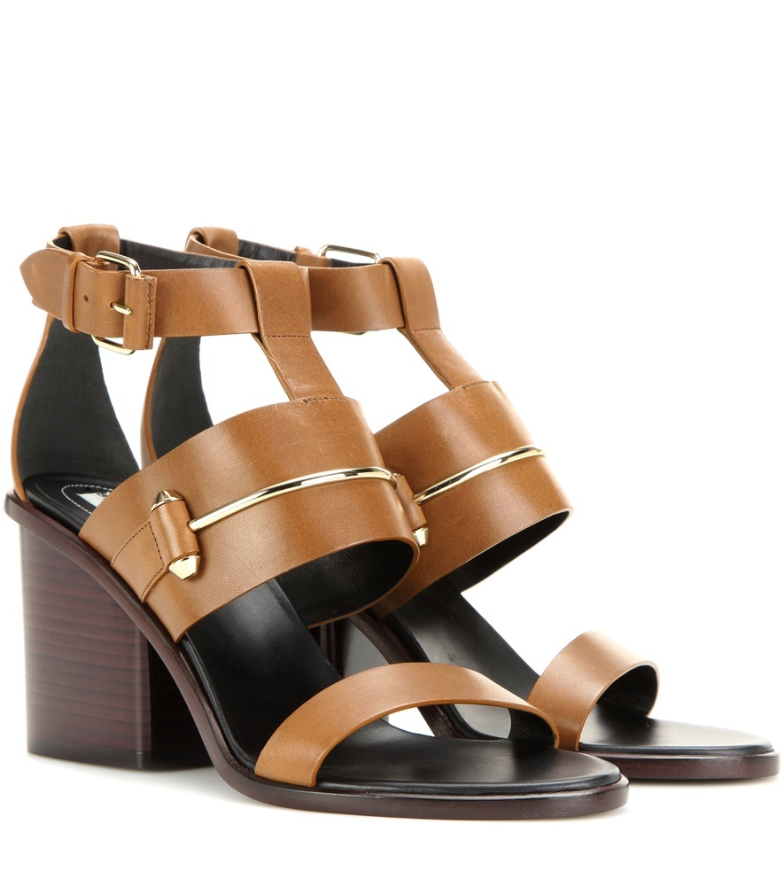 Leather Sandals - secondary colour: chocolate brown; predominant colour: tan; occasions: casual; material: leather; heel height: mid; ankle detail: ankle strap; heel: block; toe: open toe/peeptoe; style: strappy; finish: plain; pattern: colourblock; season: s/s 2016; wardrobe: highlight