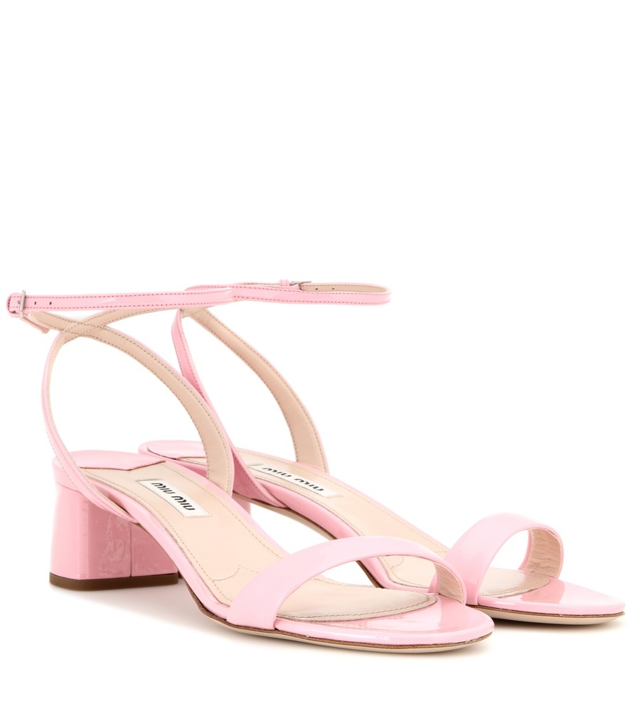 Patent Leather Sandals - predominant colour: pink; material: leather; heel height: mid; ankle detail: ankle strap; heel: block; toe: open toe/peeptoe; style: standard; finish: plain; pattern: plain; occasions: creative work; season: s/s 2016; wardrobe: highlight