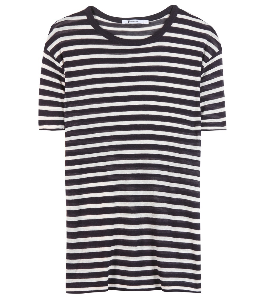 Striped T Shirt - neckline: round neck; pattern: horizontal stripes; style: t-shirt; secondary colour: white; predominant colour: black; occasions: casual; length: standard; fit: straight cut; sleeve length: short sleeve; sleeve style: standard; pattern type: fabric; texture group: jersey - stretchy/drapey; fibres: viscose/rayon - mix; season: s/s 2016; wardrobe: basic