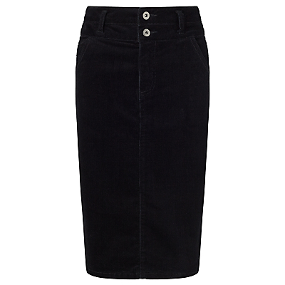 Cord Pencil Skirt, Black - pattern: plain; style: pencil; fit: tailored/fitted; waist: high rise; predominant colour: black; occasions: casual; length: on the knee; fibres: cotton - stretch; texture group: corduroy; pattern type: fabric; season: s/s 2016