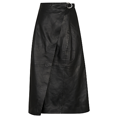 Wrap Leather Midi Skirt, Black - length: below the knee; pattern: plain; style: wrap/faux wrap; fit: loose/voluminous; waist: high rise; waist detail: belted waist/tie at waist/drawstring; predominant colour: black; fibres: leather - 100%; texture group: leather; pattern type: fabric; occasions: creative work; season: s/s 2016