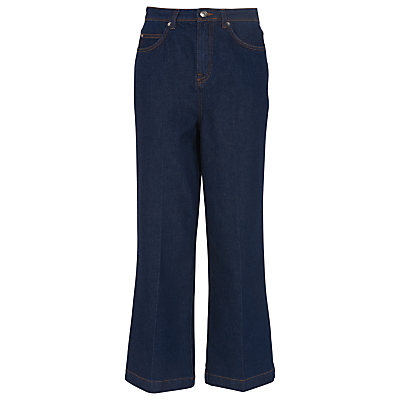 Cropped Wide Leg Jeans, Denim - pattern: plain; waist: high rise; pocket detail: traditional 5 pocket; style: wide leg; predominant colour: navy; occasions: casual, creative work; length: ankle length; fibres: cotton - 100%; jeans detail: dark wash; texture group: denim; pattern type: fabric; season: s/s 2016