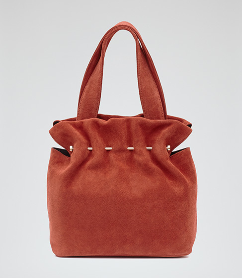 Cassius Suede And Metal Tote - predominant colour: terracotta; secondary colour: gold; occasions: casual, creative work; type of pattern: standard; style: tote; length: handle; size: standard; material: suede; pattern: plain; finish: plain; season: s/s 2016; wardrobe: highlight