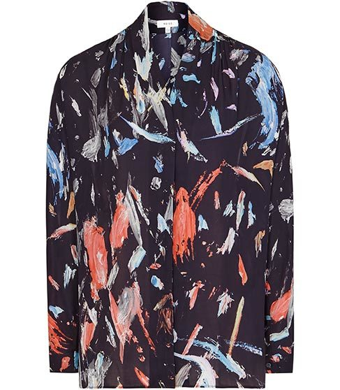 Didion Printed Wrap Top - neckline: v-neck; style: wrap/faux wrap; secondary colour: bright orange; predominant colour: black; occasions: casual; length: standard; fibres: polyester/polyamide - 100%; fit: body skimming; sleeve length: long sleeve; sleeve style: standard; pattern type: fabric; pattern: patterned/print; texture group: other - light to midweight; multicoloured: multicoloured; season: s/s 2016; wardrobe: highlight