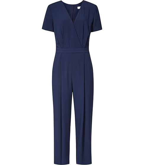 Corsico Wrap Front Jumpsuit - neckline: v-neck; fit: fitted at waist; pattern: plain; predominant colour: navy; length: ankle length; fibres: polyester/polyamide - mix; sleeve length: short sleeve; sleeve style: standard; style: jumpsuit; pattern type: fabric; texture group: other - light to midweight; occasions: creative work; season: s/s 2016