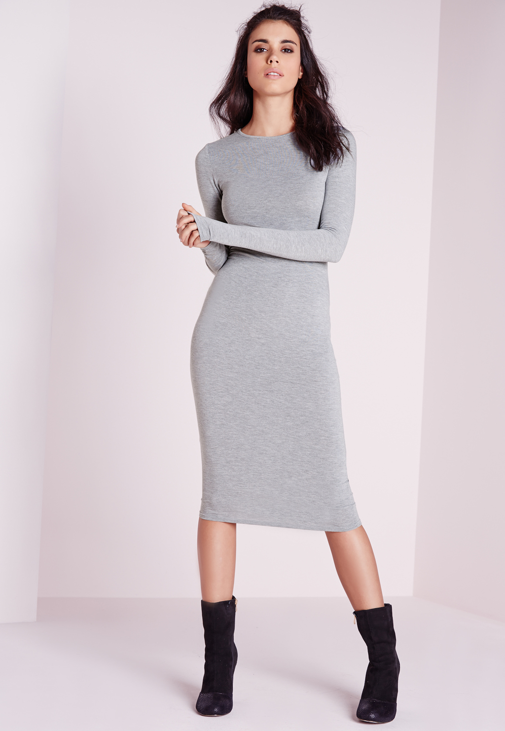Jersey Bodycon Midi Dress Grey Marl, Grey - length: below the knee; fit: tight; pattern: plain; style: bodycon; predominant colour: light grey; occasions: casual, creative work; fibres: viscose/rayon - stretch; neckline: crew; sleeve length: long sleeve; sleeve style: standard; pattern type: fabric; texture group: jersey - stretchy/drapey; season: s/s 2016; wardrobe: basic