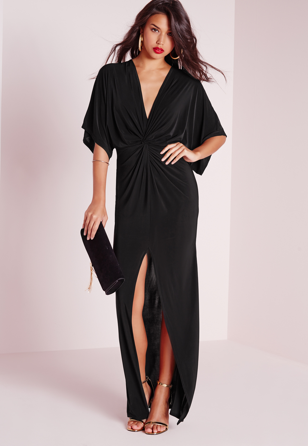Slinky Kimono Maxi Dress Black, Black - neckline: low v-neck; sleeve style: dolman/batwing; pattern: plain; style: maxi dress; bust detail: ruching/gathering/draping/layers/pintuck pleats at bust; predominant colour: black; length: floor length; fit: body skimming; fibres: viscose/rayon - stretch; occasions: occasion; sleeve length: half sleeve; pattern type: fabric; texture group: other - light to midweight; season: s/s 2016