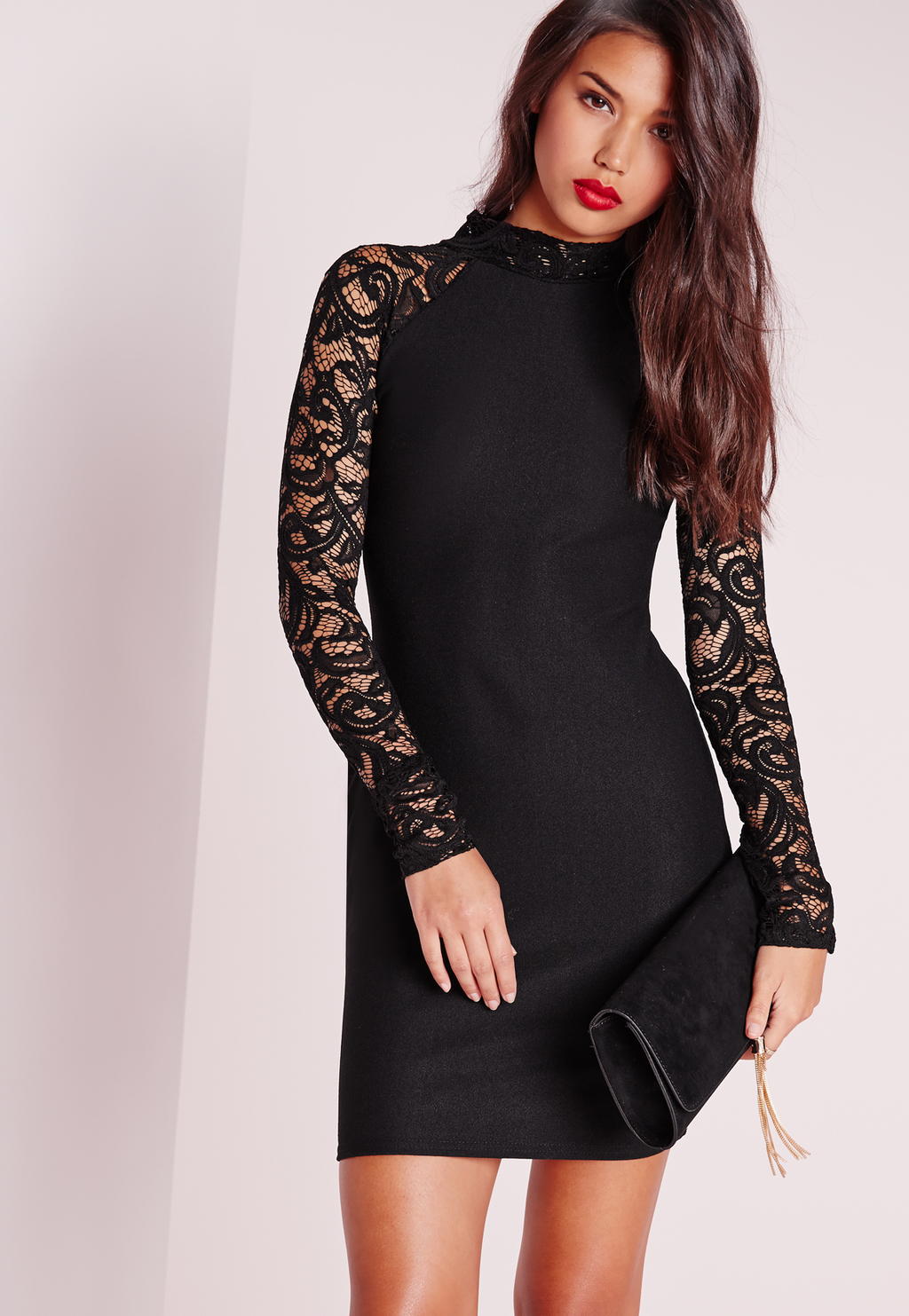 Lace Long Sleeve Bodycon Dress Black, Black - length: mini; fit: tight; neckline: high neck; style: bodycon; predominant colour: black; occasions: evening; fibres: polyester/polyamide - stretch; sleeve length: long sleeve; sleeve style: standard; texture group: lace; pattern type: fabric; pattern size: standard; pattern: patterned/print; embellishment: lace; season: s/s 2016; wardrobe: event