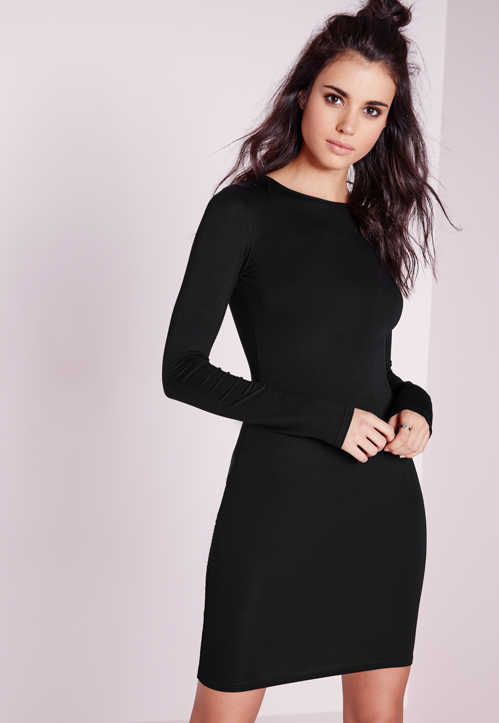 Jersey Bodycon Mini Dress Black, Black - fit: tight; pattern: plain; style: bodycon; predominant colour: black; occasions: evening; length: just above the knee; fibres: viscose/rayon - stretch; neckline: crew; sleeve length: long sleeve; sleeve style: standard; texture group: jersey - clingy; pattern type: fabric; season: s/s 2016